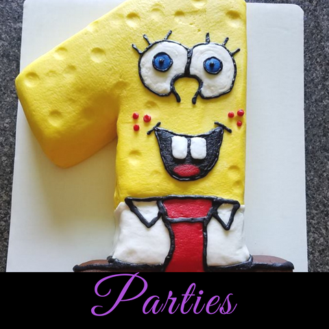 party cakes like sponge bob in shape of the number 1